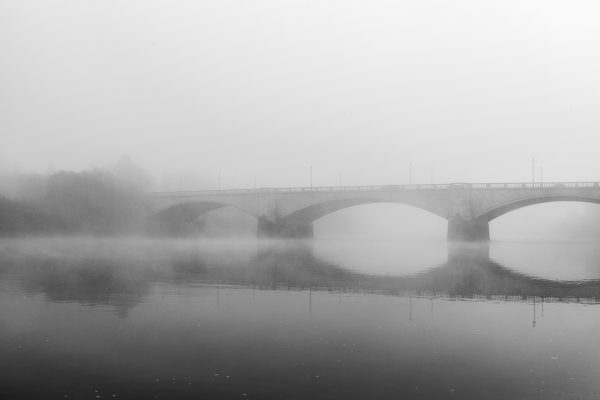 River Thames in fog next to Chiswick Bridge, 2019